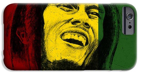 Reggae Music Art iPhone Cases - Bob Marley Reggae Tribute iPhone Case by Allan Swart