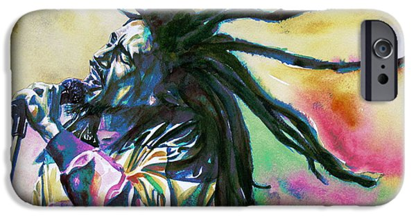 Jamaican Paintings iPhone Cases - Bob Marley Singing Portrait.1 iPhone Case by Fabrizio Cassetta