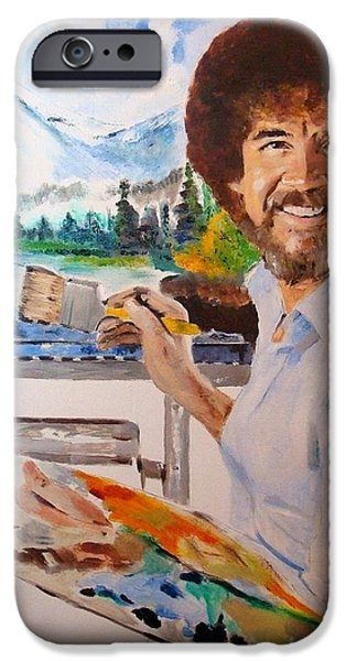 Bob Ross Paintings iPhone Cases - Bob Ross iPhone Case by Debi Day