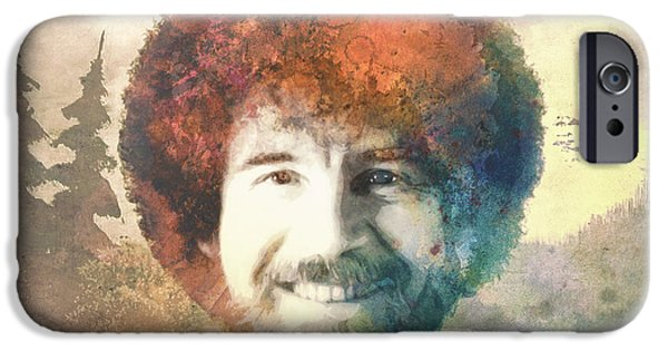 Bob Ross Digital iPhone Cases - Bob Ross iPhone Case by Filippo B