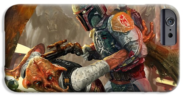 Stars iPhone Cases - Boba Fett - Star Wars the Card Game iPhone Case by Ryan Barger