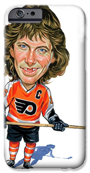 Hockey Paintings iPhone Cases - Bobby Clarke iPhone Case by Art