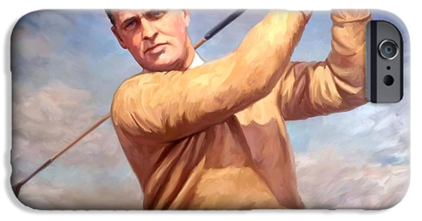 Golfer iPhone Cases - bobby Jones iPhone Case by Tim Gilliland