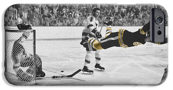 Boston iPhone Cases - Bobby Orr 2 iPhone Case by Andrew Fare