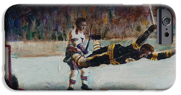Hockey Paintings iPhone Cases - Bobby Orr iPhone Case by Charles  Bickel