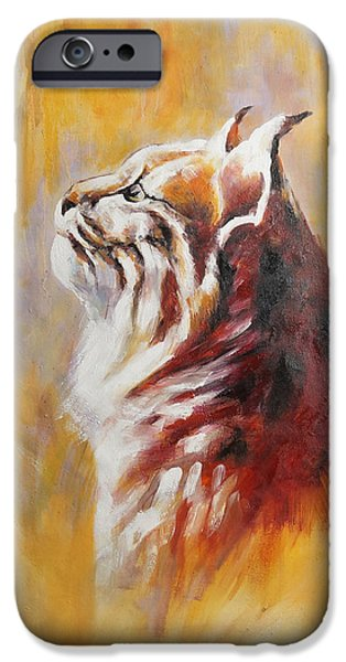 Bobcats Paintings iPhone Cases - Bobcat iPhone Case by Fanan Wu