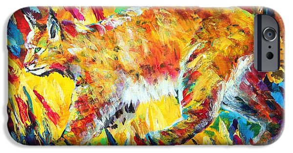 Bobcats Paintings iPhone Cases - Bobcat iPhone Case by Karl Wagner