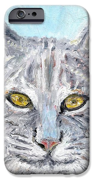 Bobcats Paintings iPhone Cases - Bobcat iPhone Case by Sandra Lytch