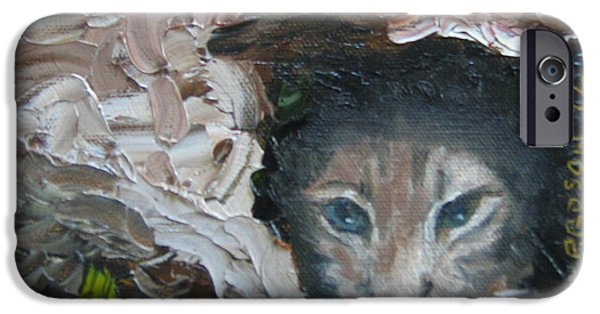 Bobcats Paintings iPhone Cases - Bobcat iPhone Case by Susan Richardson