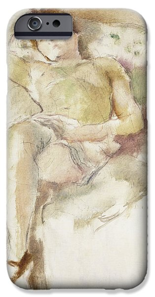 Mid Adult iPhone Cases - Bobette Lying Down Bobette Allongee iPhone Case by Jules Pascin