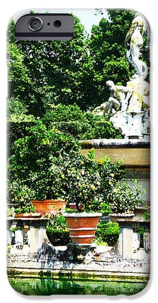 Garden iPhone Cases - Boboli Gardens Fountain Florence Italy iPhone Case by Irina Sztukowski