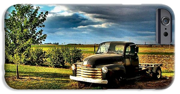 Old Trucks Photographs iPhone Cases - Bobs Old Chevy Truck in the Spring iPhone Case by Julie Dant