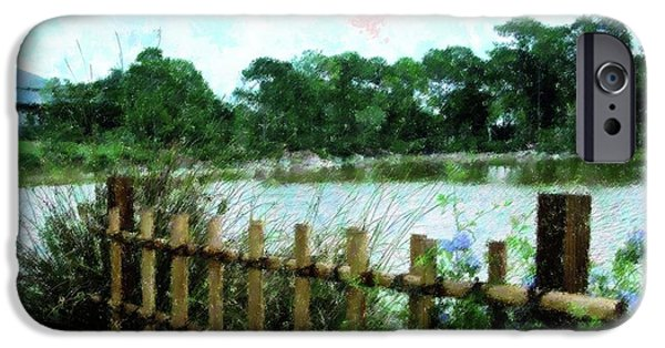 Bamboo Fence iPhone Cases - Boca Morikami Gardens iPhone Case by Florene Welebny