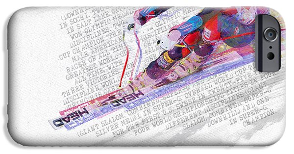 Super-g Skiing iPhone Cases - Bode Miller And Statistics iPhone Case by Tony Rubino