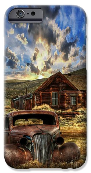 Rusted Cars iPhone Cases - Bodie Ghost Town iPhone Case by Benanne Stiens