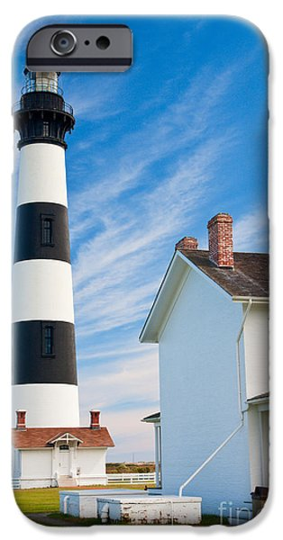 Safety Pyrography iPhone Cases - Bodie Island Blue Sky iPhone Case by Dan Waters