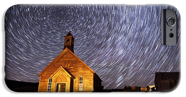 Abandoned House iPhone Cases - Bodie Star Trails iPhone Case by Cat Connor
