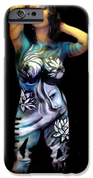 Airbrush Drawings iPhone Cases - Body Paint 3 iPhone Case by Chris Gill