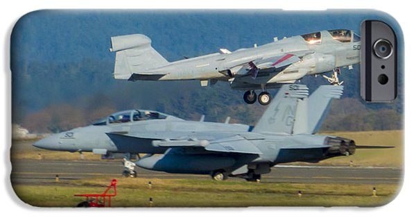 Electronic iPhone Cases - Boeing EA-18G Growler Waiting for Homecoming Grumman EA-6B Prowler to Land iPhone Case by Joe Kunzler
