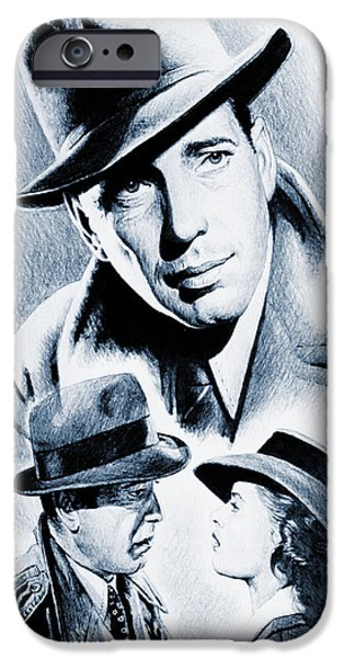 1940s Portraits iPhone Cases - Bogart silver screen iPhone Case by Andrew Read