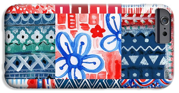4th July Mixed Media iPhone Cases - Boho Americana- patchwork painting iPhone Case by Linda Woods