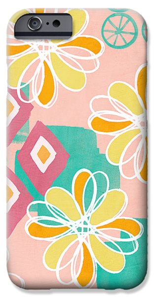 Pink Mixed Media iPhone Cases - Boho Floral Garden iPhone Case by Linda Woods
