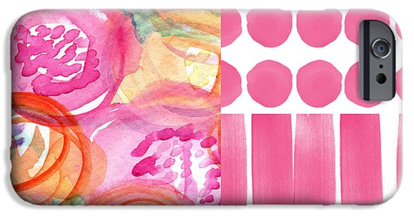 Stripes iPhone Cases - Boho Flower Patchwork- watercolor art iPhone Case by Linda Woods