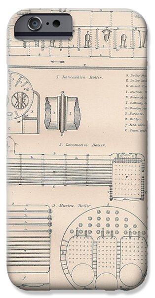 Mechanism iPhone Cases - Boiler drawing and diagrams iPhone Case by Anon
