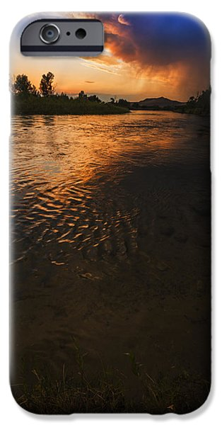 Reflections Of Sky In Water iPhone Cases - Boise River Dramatic Sunset iPhone Case by Vishwanath Bhat
