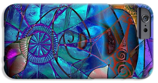 Blue Abstracts Jewelry iPhone Cases - Bold 2 iPhone Case by Iris Gelbart