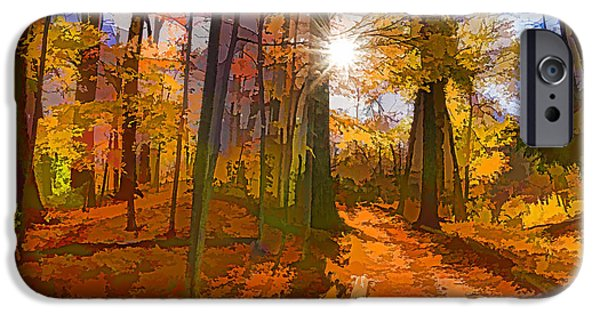 Pathway iPhone Cases - Bold and Colorful Autumn Forest Impression iPhone Case by Georgia Mizuleva