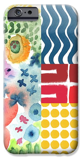 Bold Boho Patchwork- abstract art iPhone Case by Linda Woods