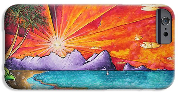 Sailboat Ocean iPhone Cases - Bold Colorful Tropical Sunset Art Original Beach Painting by Megan Duncanson iPhone Case by Megan Duncanson
