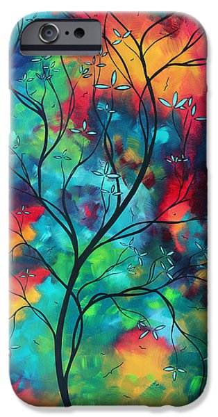 Whimsy Paintings iPhone Cases - Bold Rich Colorful Landscape Painting Original Art COLORED INSPIRATION by MADART iPhone Case by Megan Duncanson
