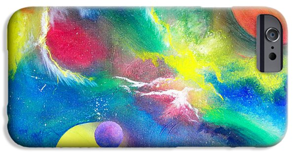 Deep Space Art Paintings iPhone Cases - Boldly Go... iPhone Case by Samira Butt