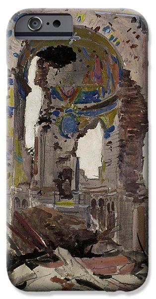 World War One Paintings iPhone Cases - Bombed Out Interior of Albert Church iPhone Case by Ernest Proctor