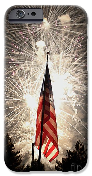Patriots iPhone Cases - Bombs bursting in air iPhone Case by Alan Look