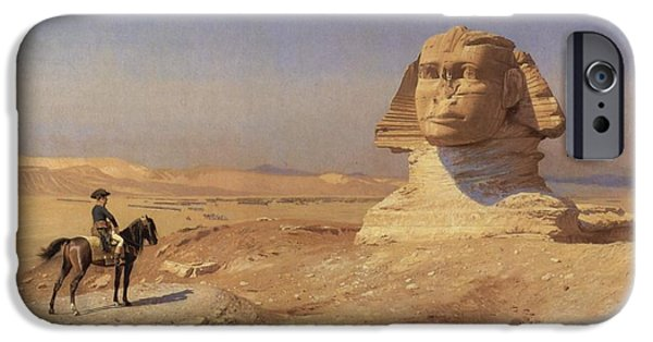 Gerome iPhone Cases - Bonaparte before the Sphinx iPhone Case by Jean-Leon Gerome