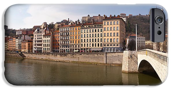 Rhone Alpes iPhone Cases - Bonaparte Bridge Over The Saone River iPhone Case by Panoramic Images