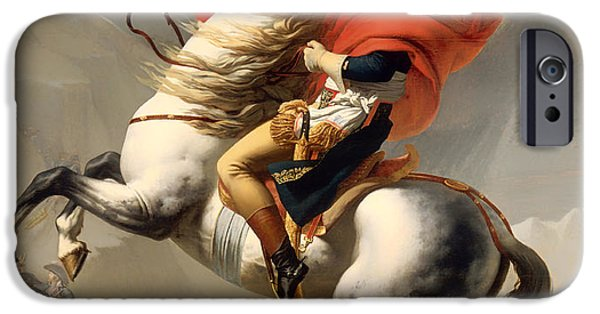 Concept Paintings iPhone Cases - Bonaparte Crossing the Alps 1800 iPhone Case by David