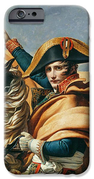 Emperor iPhone Cases - Bonaparte Crossing The Alps Oil On Canvas Detail Of 18491 iPhone Case by Jacques Louis David