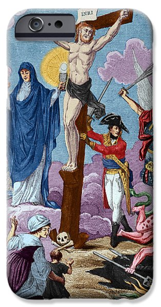 Allegory iPhone Cases - Bonaparte, Restorer Of Religion And Supporting The Cross, Allegory On The Concordat, 1802 Coloured iPhone Case by French School
