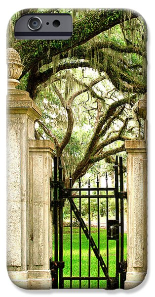 Savannah iPhone Cases - BONAVENTURE CEMETERY GATE Savannah GA iPhone Case by William Dey