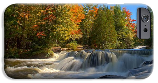 Turbulent Skies iPhone Cases - Bond Falls iPhone Case by John Absher