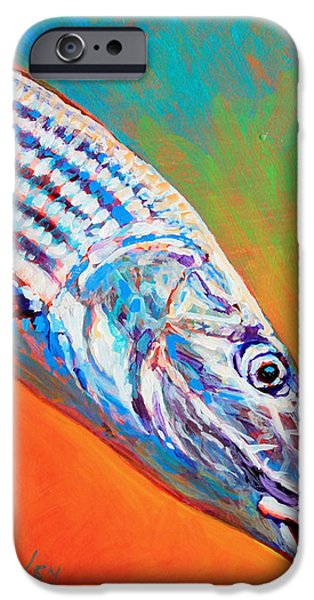 Flyfishing iPhone Cases - Bonefish Portrait iPhone Case by Mike Savlen