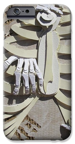 Cardboard Mixed Media iPhone Cases - Bones iPhone Case by Evie Giaconia