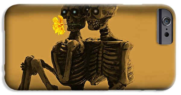 Haunted House Mixed Media iPhone Cases - Bones In Love  iPhone Case by David Dehner
