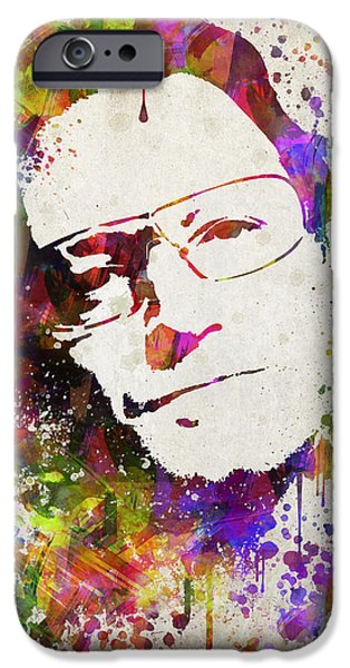 Band Photo iPhone Cases - Bono in Color iPhone Case by Aged Pixel