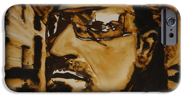 U2 Paintings iPhone Cases - Bono iPhone Case by Jennifer Fitzgerald