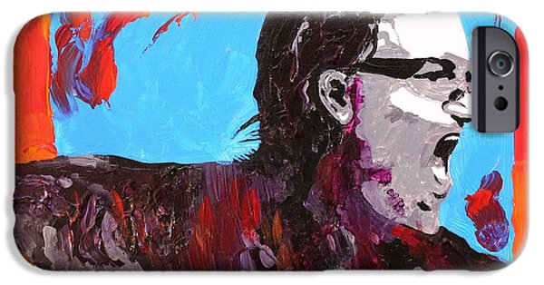 Bono Paintings iPhone Cases - Bono iPhone Case by Michael Greeley